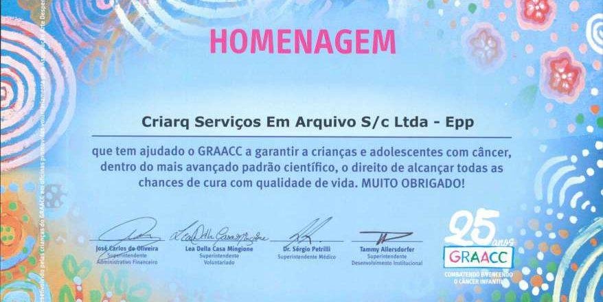 O Grupo CRIARQ recebe Homenagem do GRAACC